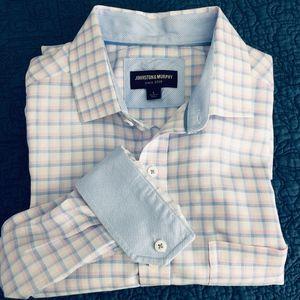 Johnston Murphy Mens Shirt w/Flip Cuffs,Sz L  PE19